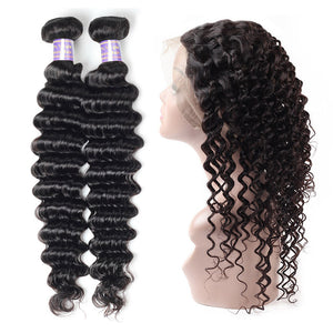 Allove Hair Virgin Brazilian Deep Wave Hair 2 Bundles With 360 Lace Frontal Human Hair : ALLOVEHAIR