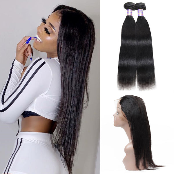 Brazilian Straight Hair 2 Bundles with 360 Lace Frontal Closure : ALLOVEHAIR