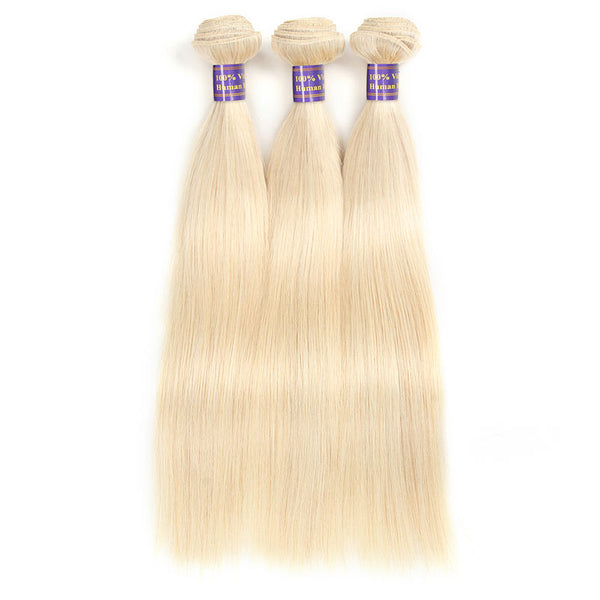 New Arrival 613 Blonde Straight Human Remy Hair Weave 3 Bundles : ALLOVEHAIR
