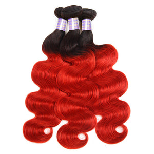 Allove Hair  Brazilian  Ombre T1B /Red Body Wave Human Hair 3 Bundles With Lace Closure : ALLOVEHAIR