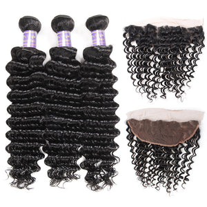 Peruvian Deep Wave 3 Bundles with Lace Frontal Virgin Human Hair-Allove Hair : ALLOVEHAIR