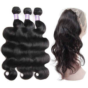Indian Body Wave 360 Lace Closure with 3 Bundles Virgin Human Hair : ALLOVEHAIR