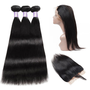Allove Hair Peruvian Straight Hair 3 Bundles with 360 Lace Frontal Closure : ALLOVEHAIR
