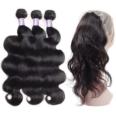 Allove Hair Peruvian Body Wave 3 Bundles with 360 Lace Closure : ALLOVEHAIR