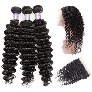 Indian Deep Wave 3 Bundles with 360 Lace Closure Virgin Human Hair : ALLOVEHAIR