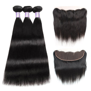 Malaysian Straight Hair 3 Bundles with 13*4 Lace Frontal Closure : ALLOVEHAIR
