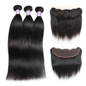 Indian Straight Hair 3 Bundles With 13*4 Lace Frontal Human Hair Extensions : ALLOVEHAIR