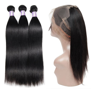 Allove Hair Malaysian Straight Hair 3 Bundles with 360 Lace Frontal Closure : ALLOVEHAIR
