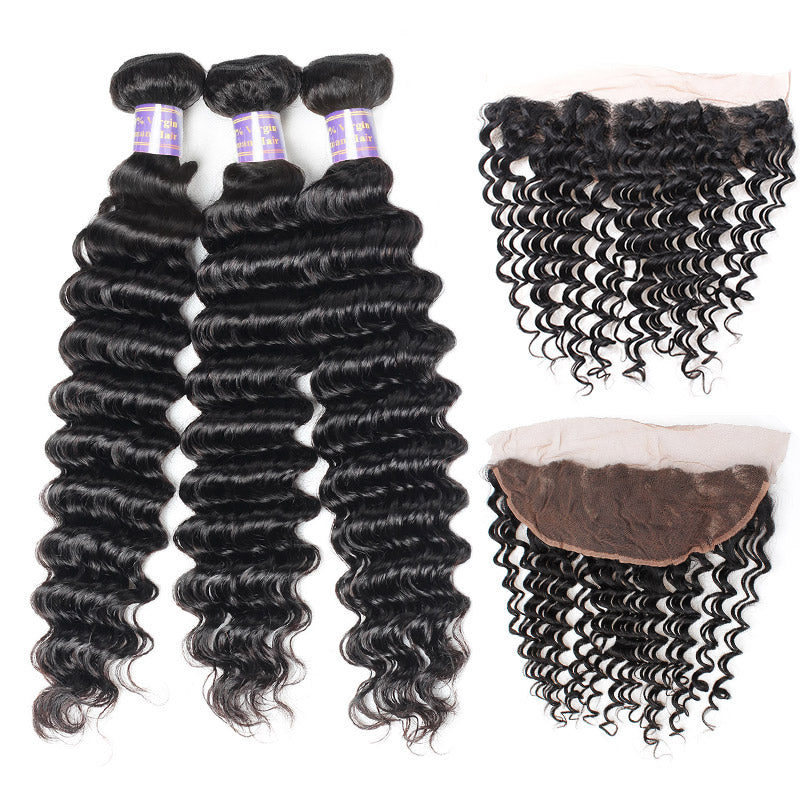 Brazilian Deep Wave 3 Bundles with 13*4 Lace Frontal Virgin Human Hair