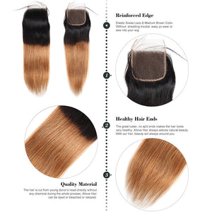 Allove Hair Tow Tone T 1B /30 Straight Hair 3 Bundles With Closure Fashion Colorful Hair : ALLOVEHAIR