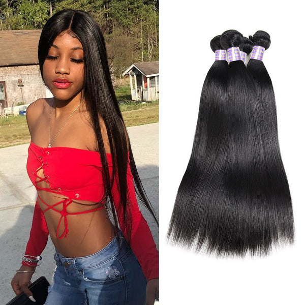 Allove Hair Brazilian Straight 4 Bundles Virgin Human Hair : ALLOVEHAIR