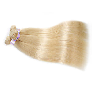 4 Bundles 613 Blonde Straight Human Remy Hair Weave