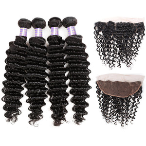 Brazilian Deep Wave 4 Bundles with 13*4 Lace Frontal Closure Human Hair : ALLOVEHAIR
