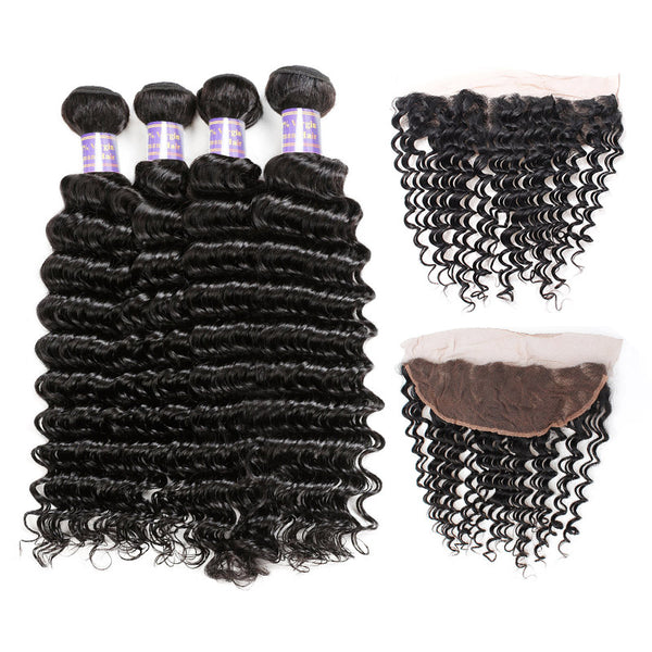 Malaysian Deep Wave 4 Bundles with 13*4 Lace Frontal Closure : ALLOVEHAIR