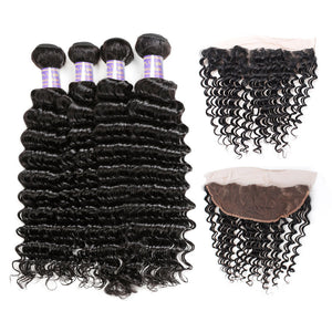 Indian Deep Wave Virgin Hair 4 Bundles With 13*4 Lace Frontal Closure : ALLOVEHAIR