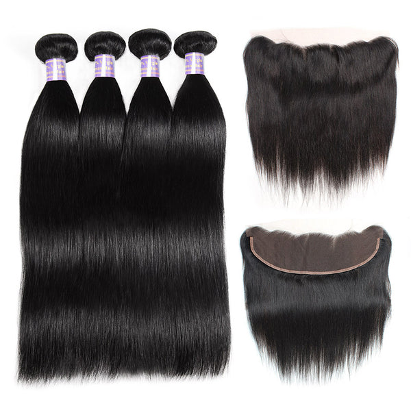 Allove Hair Indian Straight Hair 4 Bundles with 13*4 Lace Frontal Closure : ALLOVEHAIR