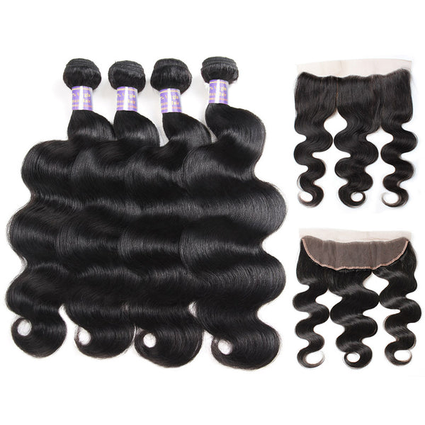 Brazilian Body Wave 4 Bundles with Ear to Ear Lace Frontal Closure : ALLOVEHAIR