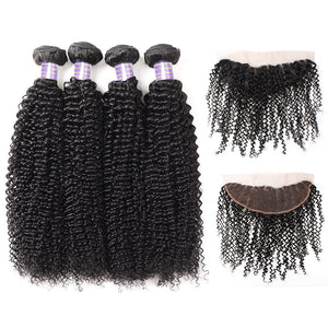 Allove Hair Brazilian Curly Wave Hair 4 Bundles with 13*4 Frontal Closure : ALLOVEHAIR