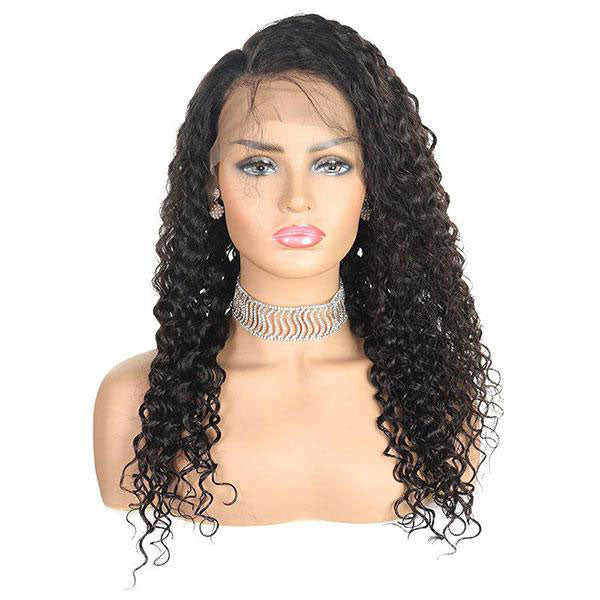 Deep Wave Hair 4*4 Lace Closure Wig 10A Grade Virgin Human Hair Wig