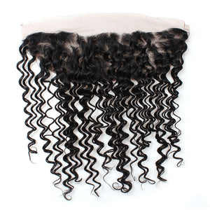 Malaysian Deep Wave 3 Bundles with Lace Frontal Virgin Human Hair : ALLOVEHAIR