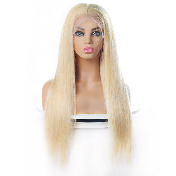 613 Blonde Color Straight Hair 4*4 Lace Front Wig 10A Grade Human Hair Wigs 150% Destiny