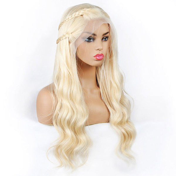 613 Blonde Color Body Wave Hair 4*4 Lace Front Wig 10A Grade Human Hair Wigs