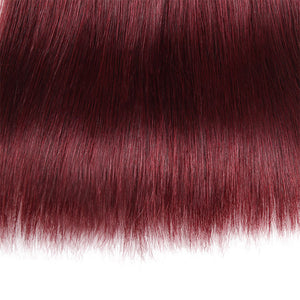 Allove Hair 99J Straight Hair 3 Bundles With Closure Burgundy Dark Wine Red : ALLOVEHAIR