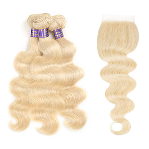 Allove Pure Blonde Body Wave Hair 3 Bundles with Lace Closure 613 Body wave : ALLOVEHAIR