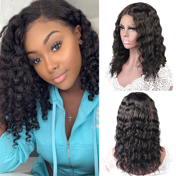 Allove 10A Remy Hair Water Wave Wig Lace Part Human Hair Wigs