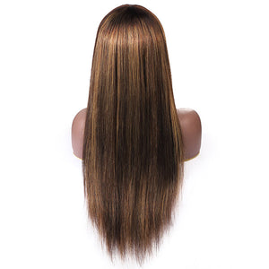 Honey Blonde Highlight Brown Ombre Straight Human Hair Wigs