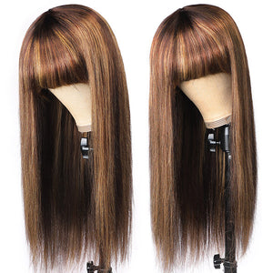 Allove 150% Density Honey Blonde Highlight Brown Ombre Straight Human Hair Wigs Machine Made Wigs With Bangs