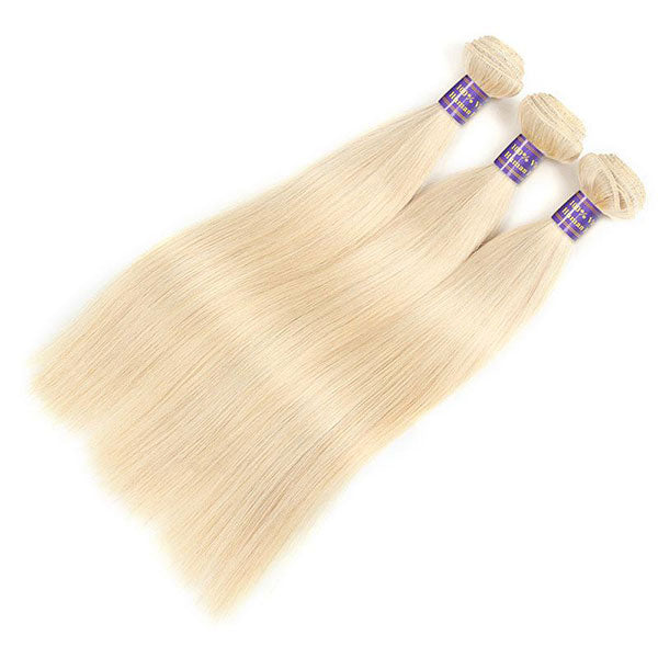 Allove 613 Blonde Color Straight Hair 3 Bundles with 4*4 Lace Closure