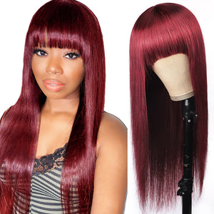 Allove 99J# Colored Straight Virgin Human Hair Wigs Machine Made Wigs With Bangs