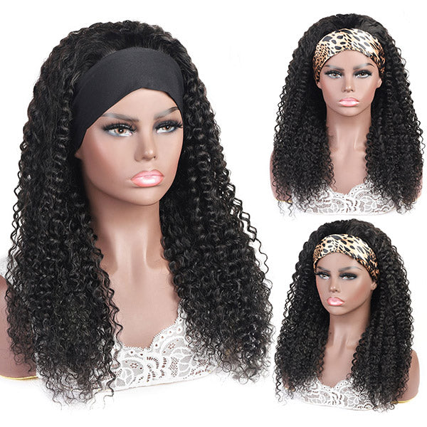 Allove Curly Headband Human Hair Non Lace Wig For Black Women
