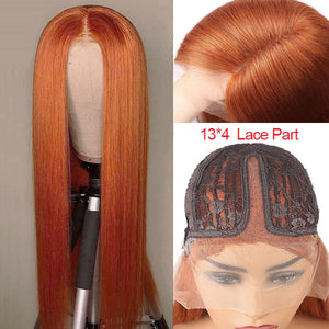Allove Ginger Color Hair 13*4 Lace Part Straight/Body Wave Human Hair Wigs
