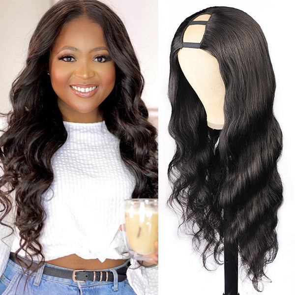 Allove Hair Body Wave Virgin Remy Human Hair Wigs U Part Wig
