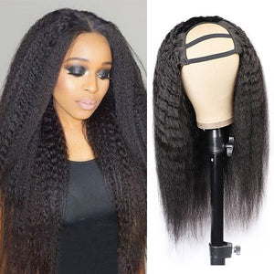 Allove Hair Kinky Straight Virgin Remy Human Hair Wigs U Part Wig