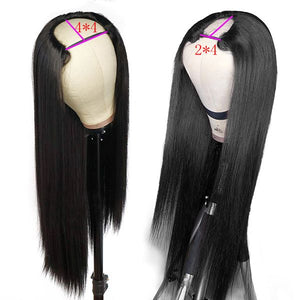 Allove Hair Straight Virgin Remy Human Hair Wigs U Part Wig