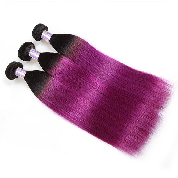 Allove Hair T1B/Purple Ombre Colorful Hair Straight Hair 3 Bundles