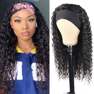 Allove Headband Wig Deep Wave Human Hair Non Lace Wig For Black Women