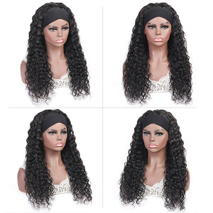 Allove Headband Wig Water Wave Human Hair Non Lace Wig For Black Women