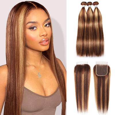 Allove Honey Blonde Color Straight Hair 3 Bundles With 4*4 Lace Closure