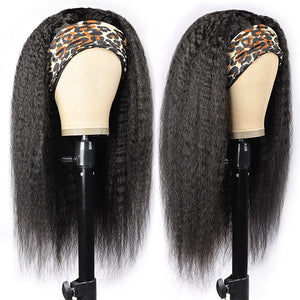 Allove Kinky Straight Headband Wig Human Hair Non Lace Wig 150% Density