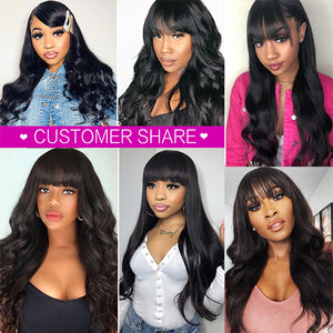 Allove New Arrival Body Wave Machine Made Human Hair Wig With Free Part Bangs
