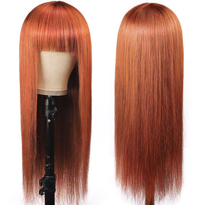 Ginger Color Machine Made Straight Human Hair Wigs