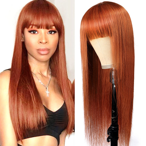Allove New Arrival Ginger Color Machine Made Straight Human Hair Wigs With Bangs