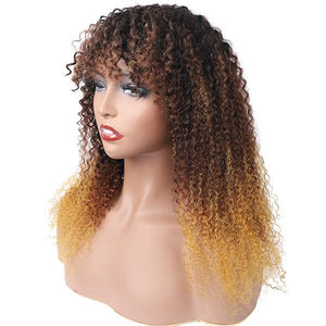 Ombre Three Color Machine Made Curly Wigs