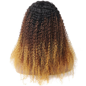 Allove Ombre Three Color Machine Made Curly Wigs 100% Human Hair Wig With Bangs