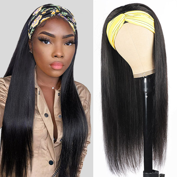 Allove Straight Human Hair Wigs With Headbands Non Lace Front Wigs