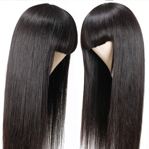 Allove Straight Full Machine Made Wig With Neat Bangs No Lace Affordable 100% Human Hair Wig